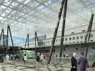 The transparency of the new glass atrium floods Union Station's tracks and platforms with natural light.