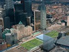 An aerial photo illustrates the expanding urban context surrounding Union Station.