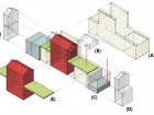 Exploded Axonometric of Resulting Spaces for Design Intervention (A) resulting space for housing (B) private garages removed to allow for human space (C) sunken laneway allows for density at/under rear yard (D) future expansion of existing unit (E) existing house and yard maintained with space for future development
