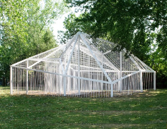 "the 2012 winning folly entitled ""curtain"" by jerome haferd and k. brandt knapp."