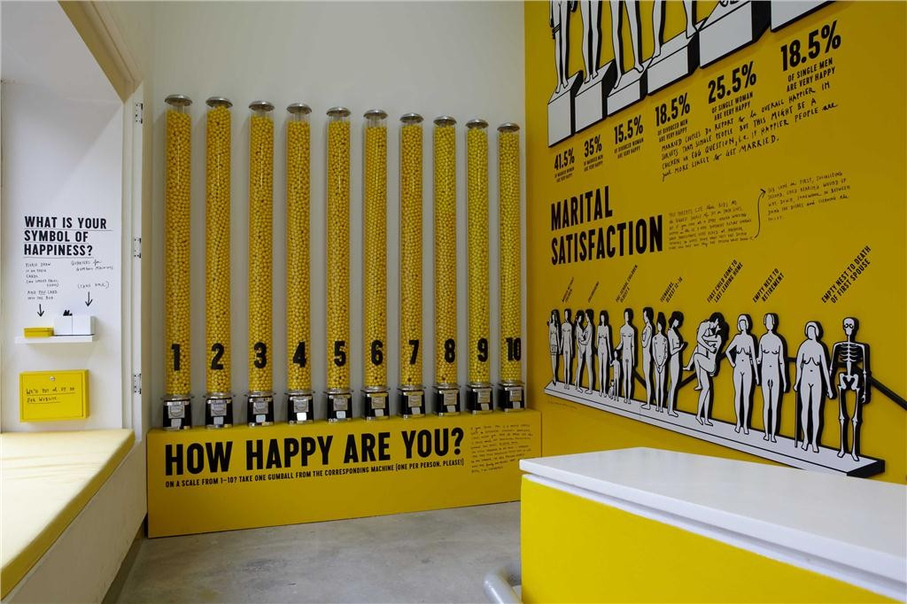 "From left to right: ""Happiness Symbol Survey"" (2012), ""Gumball Personal Happiness Survey"" (2012), ""Happiness Infographics Wall"" (2012). All installations are by Stefan Sagmeister and are part of ""The Happy Show"" which ran from April 4-August 12, 2012 at the Institute of Contemporary Art, University of Pennsylvania. Photo: Aaron Igler/Greenhouse Media."