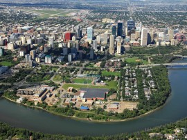 An aerial view shows the proximity of residential areas to Edmonton's centre. Mayor Stephen Mandel and city architect Carol Blanger are weaving high design throughout the urban fabric. City of Edmonton