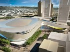 A rendering from the west shows the arena's streamlined form set amidst proposed developments for the surrounding district. City of Edmonton