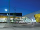 A new hub for an underserved area of the city, the recently completed Commonwealth Community Recreation Centre by MacLlennan Jaunkalns Miller Architects and HIP Architects adjoins the existing Edmonton Eskimos stadium, visible at right. MacLennan Jaunkalns Miller Architects