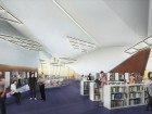 The animated interior design of the library. Teeple Architects