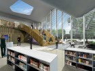 The skylit interior of the Jasper Place Public Library provides a unique community gathering space. HCMA/DUB Architects
