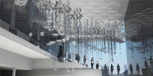 rendering of philip beesley's installation at simons in the west edmonton mall