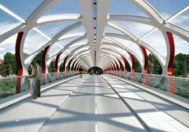 A rendering of the Peace Bridge in Calgary, designed by Santiago Calatrava and Stantec. Santiago Calatrava LLC.