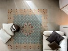 """Intricately patterned tiles recall traditional majolica techniques and can be used to create a ceramic """"rug""""--seen here in the Base series by FAP Ceramiche."""