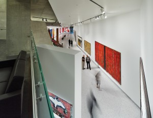 A view into the underground gallery that links the pavilion to the main museum.
