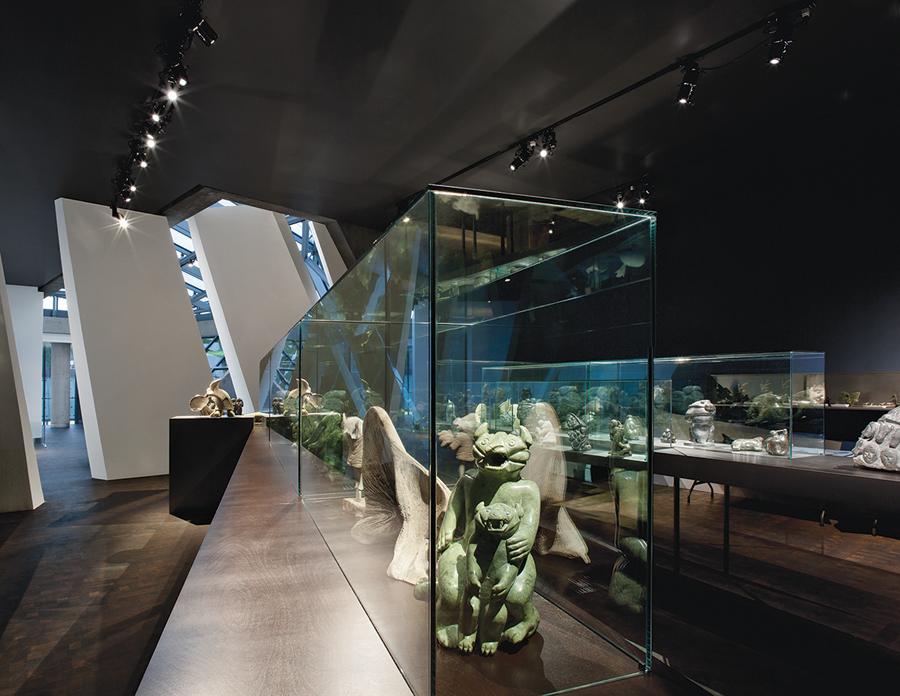 The top-floor exhibition area's Inuit art display. Marc Cramer