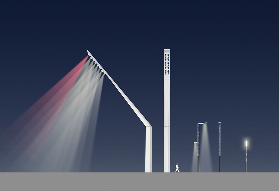 A series of gantry-like lights mark the area's new public spaces.