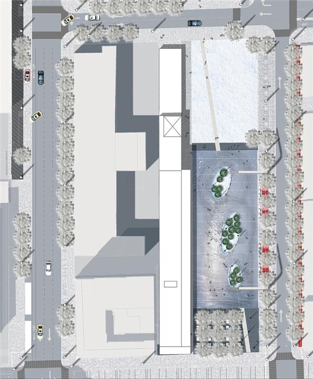 Plans for the lot south of the Parterre include a winter skating rink.