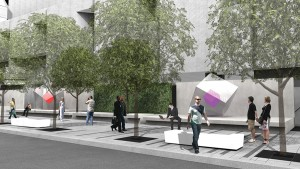 Art platforms double as benches in the planned streetscape along rue Jeanne-Mance.