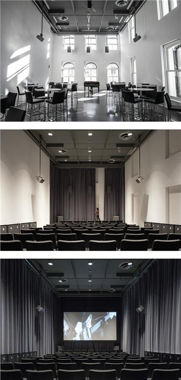 With the help of window blinds and curtains, Studio B transforms from a sunlit performance space to a darkened screening venue. Top photo: George Fok, PHI Centre