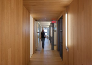 A wood-wrapped corridor leads to offices.