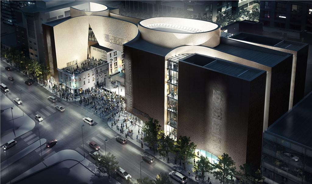 rendering of the national music centre at night