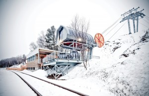 Clad with locally harvested tamarack boards, the riverside Grande-Pointe railway station provides direct access to Le Massif de Charlevoix mountain from the new tourist train.  Stphane Groleau