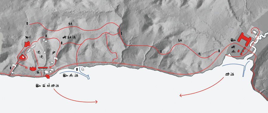 An early schematic shows the activities planned around Le Massif de Charlevoix (left), linked by a tourist train and hiking routes to Htel La Ferme (right).