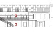 Main Building--Section:  1 porte-cochre 2 Le Bercail restaurant 3 Les Labours restaurant 4 multipurpose hall 5 dorm room 6 hotel room