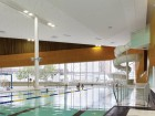 Wood laminate panels add warmth to the aquatics area, consisting of several separate pools.