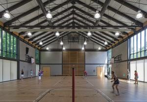 The generously daylit gymnasium.