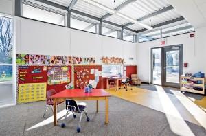 Interior of Workshop Architecture's new kindergarten classroom for the Princess Elizabeth Public School. Scott Norsworthy