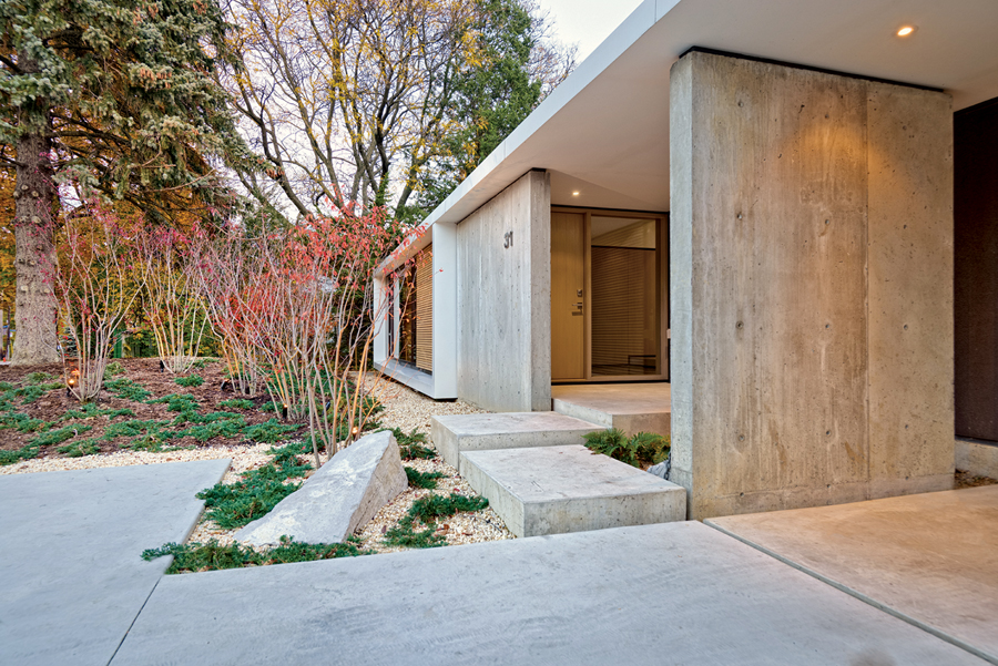 A Japanese influence can be detected in the sublime minimalism of the front entry.