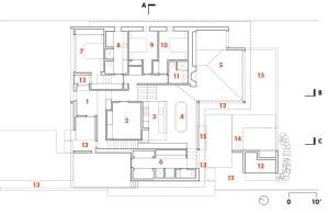 Ground Floor   1 entry  2 office  3 kitchen  4 dining  5 living room  6 mud room  7 master bedroom  8 ensuite  9 bedroom 1 10 bedroom 2 11 bathroom 12 shed/cabana 13 garden 14 fire pit 15 bridge