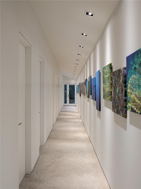 The guest-wing corridor doubles as a photo gallery.