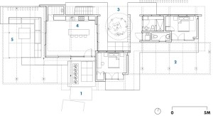 Z-2--Ground Floor   1 entry  2 east courtyard  3 central courtyard  4 kitchen  5 exterior living space
