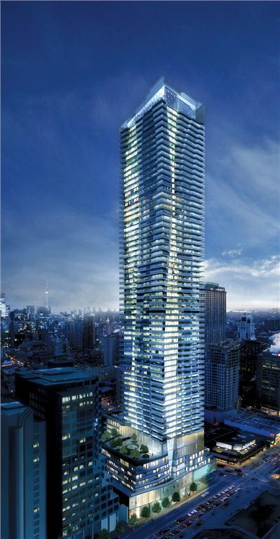 Rendering of One Bloor, currently under construction, at the prominent downtown Toronto intersection of Yonge Street and Bloor Street.