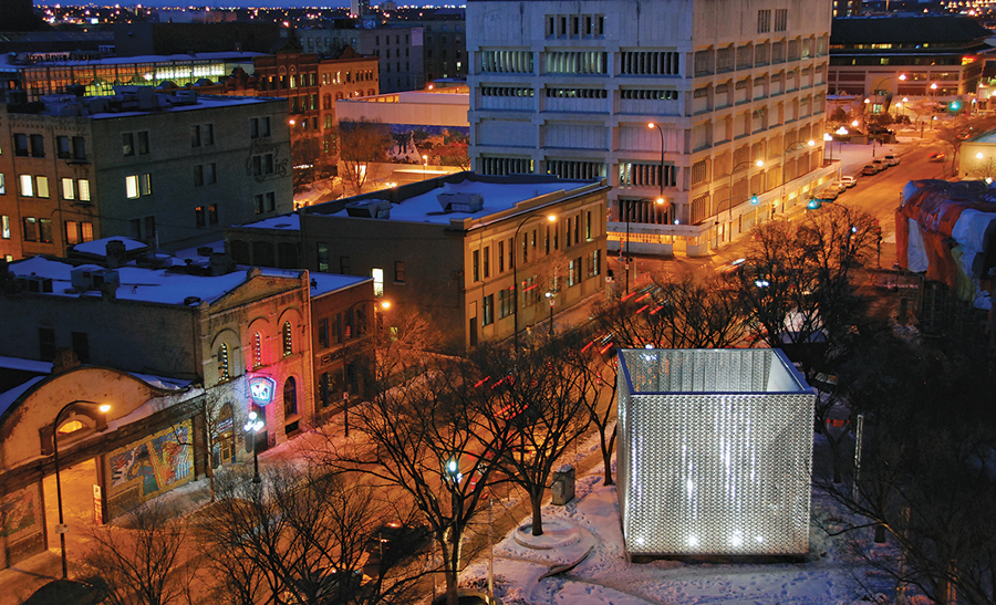 The OMS stage provides a sculptural focal point for Old Market Square in Winnipeg. 5468796 Architecture
