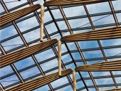 Skylight truss chords made from mountain pine beetle-killed lumber. Silent Sama