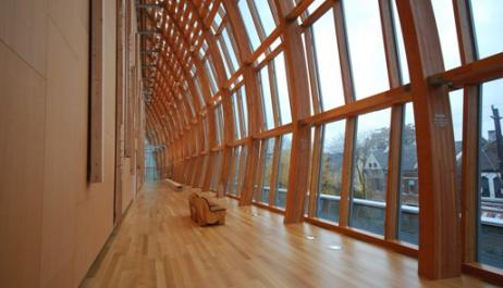 the AGO galleria maximizes the use of wood in its design