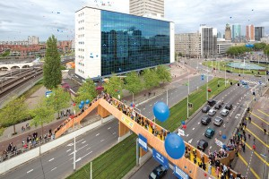 Opening party at the Luchtsingel, a pedestrian footbridge in Rotterdam built largely through a crowdfunding initiative by design collective Zones Urbaines Sensibles (ZUS). Ossip Van Duivenbode