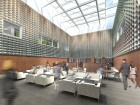 A rendering of the copper-clad library on the upper level of the Wellington Building.