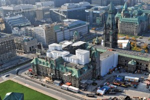 A view of the work underway on Parliament Hill showing the West Block, the Sir John A. Macdonald Building and the Wellington Building. Ron de Vries Photography