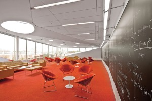 The generous third-floor Sky Room serves as a meeting area and all-purpose lounge.