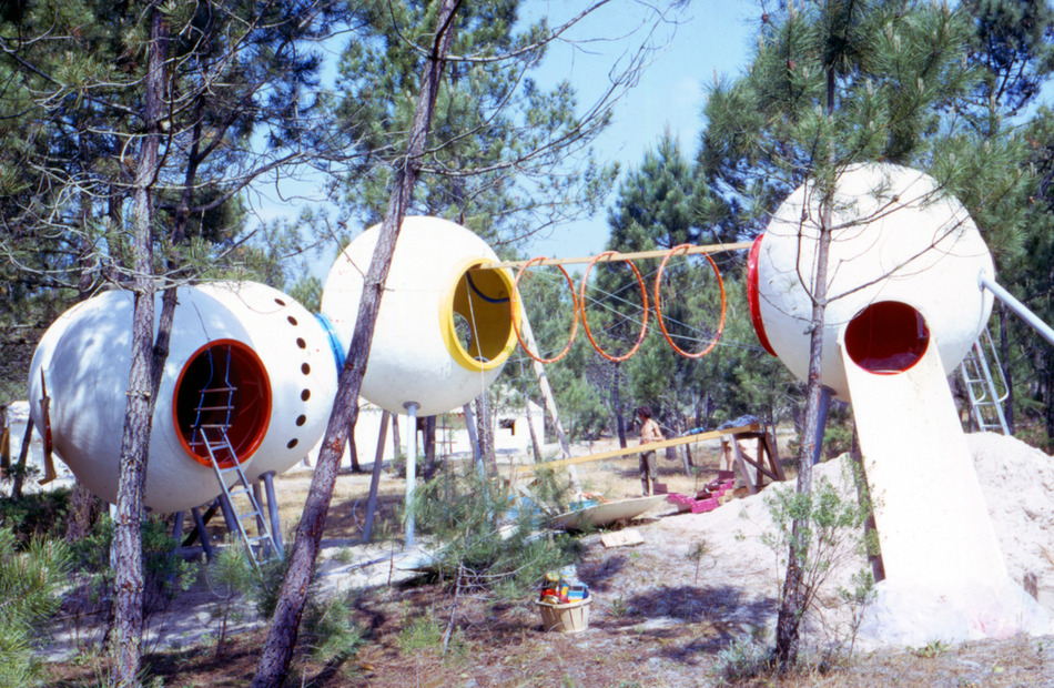 "group ludic, playground for ""les gites du clapet"" family holiday resort, royan, france, 1969. courtesy xavier de la salle"