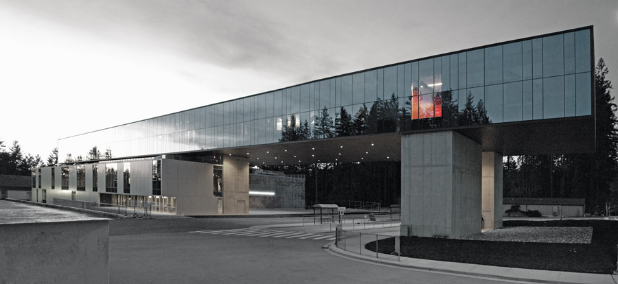 A striking new addition to the Capilano University campus, the graphic and elongated form of the Nat and Flora Bosa Centre for Film and Animation suggests most obviously a filmstrip, but the architecture employs a variety of cinematic devices. Dylan Durst