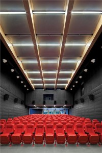 The theatre/auditorium provides a starkly minimal yet luxurious space for students to screen their films. Ema Peter
