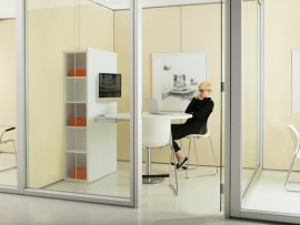 a private enclosed small office utilizes the teknion sidewise system