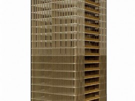 "A rendering of a 20-storey wood building with a wood structural core and a glulam curtain wall. From ""The Case for Tall Wood Buildings"""