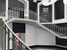 A striking black-and-white theme entices in the gallery's grand rotunda staircase. Rachel Topham, Vancouver Art Gallery