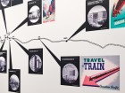 A wall graphic features the locations of various Canadian Pacific hotels. Rachel Topham, Vancouver Art Gallery