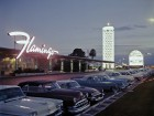 An image from the 1950s of the low-slung Flamingo Hotel on the Las Vegas strip. Courtesy of UNLV Libraries, Special Collections