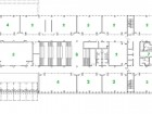 Upper Floor  1 entrance 2 laboratory 3 theatre 4 classroom 5 office 6 loading dock 7 mechanical 8 social area