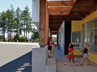 The classroom patios incorporate ample room for children's games. McFarland Marceau Architects
