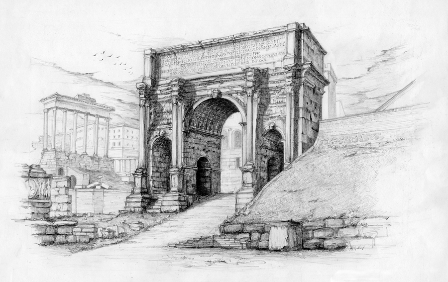 The marble arch of Septimius Severus, erected in 203 AD, stands near the foot of the Capitoline Hill in the Roman Forum.